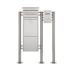 Basic | Edelstahl Paketbriefkasten freistehend BASIC 862-ST mit Klingel- Sprechkasten Rechts | Mailboxes | Briefkasten Manufaktur