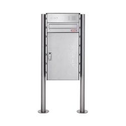 Basic | Edelstahl Paketbriefkasten freistehend BASIC 863 ST-R mit Klingelkasten & Paketfach 550x370 | Mailboxes | Briefkasten Manufaktur