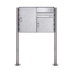 Basic | Edelstahl Paketbriefkasten freistehend BASIC 863 ST-R S mit Klingelkasten & 2x Paketkasten Rechts | Mailboxes | Briefkasten Manufaktur