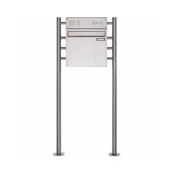 Basic | Edelstahl Standbriefkasten als Zaunbriefkasten BASIC 381Z-ST-R - mit Klingelkasten Oben | Mailboxes | Briefkasten Manufaktur