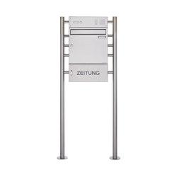 Basic | Edelstahl Standbriefkasten BASIC 381 ZFG STR mit Klingelkasten & Zeitungsfach geschlossen 100mm Tiefe | Mailboxes | Briefkasten Manufaktur
