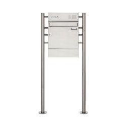 Basic | Edelstahl Standbriefkasten Design BASIC 381 ST-R mit Klingelkasten & Zeitungsfach | Buzones | Briefkasten Manufaktur