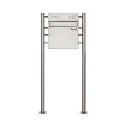 Basic | Edelstahl Standbriefkasten Design BASIC 381 ST-R mit Klingelkasten Oben 100mm Tiefe | Mailboxes | Briefkasten Manufaktur