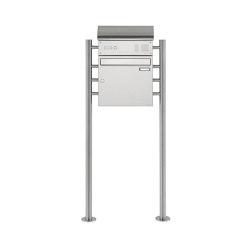 Basic | Edelstahl Standbriefkasten Design BASIC 383 ST-R mit Klingelkasten & Zeitungsfach Oben 100mm Tiefe | Mailboxes | Briefkasten Manufaktur