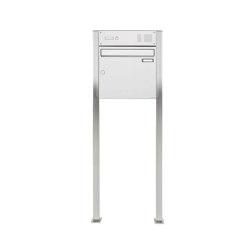Basic | Edelstahl Standbriefkasten Design BASIC 384 ST-Q mit Klingelkasten Oben 100mm Tiefe | Mailboxes | Briefkasten Manufaktur