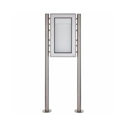 Basic | Freistehender Schaukasten BASIC 389 ST-R - 355x660 - Edelstahl Standelemente | Information totems | Briefkasten Manufaktur