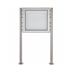 Basic | Freistehender Schaukasten BASIC 389 ST-R - 710x660 - Edelstahl Standelemente | Information totems | Briefkasten Manufaktur