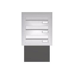 Basic | Mauerdurchwurf Briefkasten BASIC 622 - Edelstahl V2A geschliffen - 3 Parteien | Mailboxes | Briefkasten Manufaktur