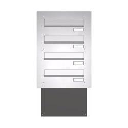 Basic | Mauerdurchwurf Briefkasten BASIC 622 - Edelstahl V2A geschliffen - 4 Parteien | Mailboxes | Briefkasten Manufaktur