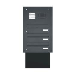 Basic | Mauerdurchwurf Briefkastenanlage BASIC 623 pulverbeschichtet - Klingel- Sprechstelle - 3 Parteien | Mailboxes | Briefkasten Manufaktur