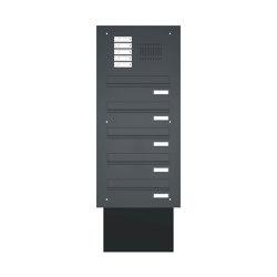 Basic | Mauerdurchwurf Briefkastenanlage BASIC 623 pulverbeschichtet - Klingel- Sprechstelle - 5 Parteien | Mailboxes | Briefkasten Manufaktur