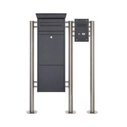 Basic | Paketbriefkasten freistehend BASIC 862-ST pulverbeschichtet mit Klingel- Sprechkasten Rechts RAL 7016 anthrazitgrau feinstruktur matt | Mailboxes | Briefkasten Manufaktur
