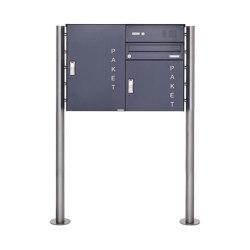 Basic | Paketbriefkasten freistehend BASIC 863 ST-R S mit Klingelkasten & 2x Paketkasten in RAL 7016 Rechts | Mailboxes | Briefkasten Manufaktur