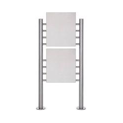 Basic | Schild freistehend BASIC 390ES - Edelstahl Standelemente - 2x Edelstahlblech 400x457 einseitig | Information totems | Briefkasten Manufaktur