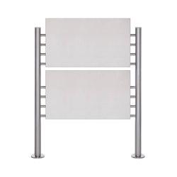 Basic | Schild freistehend BASIC 390ES - Edelstahl Standelemente - 2x Edelstahlblech 800x457 einseitig | Information totems | Briefkasten Manufaktur