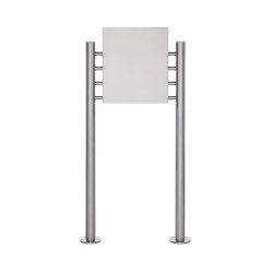 Basic | Schild freistehend BASIC 390ES - Edelstahl Standelemente - Edelstahlblech 400x457 einseitig | Information totems | Briefkasten Manufaktur