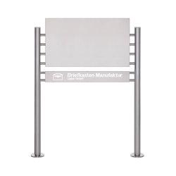 Basic | Schild freistehend BASIC 390ES - Edelstahlblech 800x457 einseitig - Beleuchtungskasten 800x100x50 | Information totems | Briefkasten Manufaktur