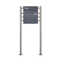 Basic | Standbriefkasten als Zaunbriefkasten BASIC 381Z ST-R mit Klingelkasten - Anthrazit-Grau RAL 7016 Oben | Mailboxes | Briefkasten Manufaktur