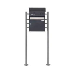 Basic | Standbriefkasten BASIC 383 ST-R mit Klingelkasten & Zeitungsfach - Edelstahl- RAL 7016 anthrazit Oben 100mm Tiefe | Mailboxes | Briefkasten Manufaktur