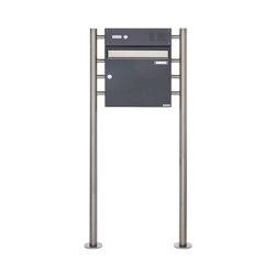 Basic | Standbriefkasten Design BASIC 381 ST-R mit Klingelkasten - Edelstahl-RAL 7016 anthrazitgrau Oben 100mm Tiefe | Mailboxes | Briefkasten Manufaktur