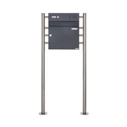Basic | Standbriefkasten Design BASIC 381 ST-R mit Klingelkasten - RAL 7016 anthrazitgrau Oben 100mm Tiefe | Mailboxes | Briefkasten Manufaktur