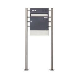 Basic | Standbriefkasten Design BASIC 381 ST-R mit Klingelkasten & Zeitungsfach - Edelstahl-RAL 7016 | Mailboxes | Briefkasten Manufaktur