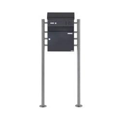 Basic | Standbriefkasten Design BASIC 383 ST-R mit Klingelkasten & Zeitungsfach - RAL 7016 anthrazitgrau Oben 100mm Tiefe | Mailboxes | Briefkasten Manufaktur