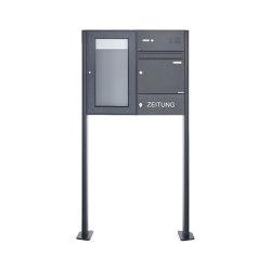 Basic | Standbriefkasten mit Schaukasten BASIC 3892 ST-T - Klingelkasten & Zeitungsfach - 355x660 - RAL 7016 Rechts | Mailboxes | Briefkasten Manufaktur