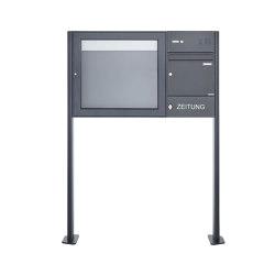 Basic | Standbriefkasten mit Schaukasten BASIC 3894 ST-T - Klingelkasten & Zeitungsfach - 710x660 - RAL 7016 Rechts | Mailboxes | Briefkasten Manufaktur