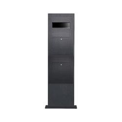 Designer | 2er Edelstahl Briefkastensäule Designer Modell BIG - RAL Farbe - GIRA System 106 3-fach vorbereitet RAL 7016 anthrazitgrau feinstruktur matt | Mailboxes | Briefkasten Manufaktur