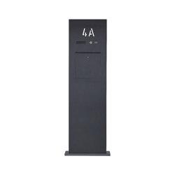Designer | Edelstahl Briefkastensäule Designer BIG - Hausnummer hinterbeleuchtet - RAL nach Wahl - INDIVIDUELL | Mailboxes | Briefkasten Manufaktur