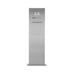 Designer | Edelstahl Briefkastensäule Designer BIG mit Hausnummer beleuchtet - Entnahme hinten - INDIVIDUELL | Mailboxes | Briefkasten Manufaktur
