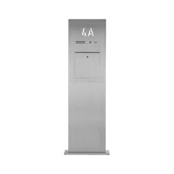 Designer | Edelstahl Briefkastensäule Designer BIG mit Hausnummer hinterbeleuchtet - INDIVIDUELL | Mailboxes | Briefkasten Manufaktur