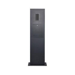 Designer | Edelstahl Briefkastensäule Designer Modell - RAL nach Wahl - GIRA System 106 - 2-fach vorbereitet RAL 7016 anthrazitgrau feinstruktur matt | Mailboxes | Briefkasten Manufaktur