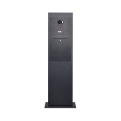 Designer | Edelstahl Briefkastensäule Designer Modell - Stele Tower - RAL nach Wahl - Comelit VIDEO Komplettset | Mailboxes | Briefkasten Manufaktur