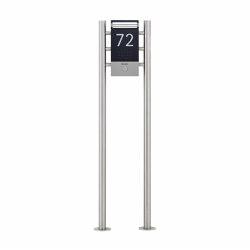 Designer | Edelstahl Klingel Stele DESIGNER ST-R in Titanoptik mit LED Leuchte | Door bells | Briefkasten Manufaktur