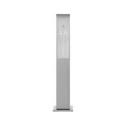 Designer | Edelstahl Klingelstele Designer - Hausnummer und Straße hinterbeleuchtet 160 cm | Door bells | Briefkasten Manufaktur