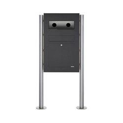 Designer | Edelstahl Standbriefkasten Designer BIG - RAL nach Wahl - GIRA System 106 - 3-fach vorbereitet RAL 7016 anthrazitgrau feinstruktur matt | Mailboxes | Briefkasten Manufaktur