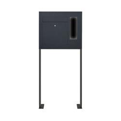 Designer | Edelstahl Standbriefkasten Designer BIG ST-P - GIRA System 106 seitlich - 3-fach vorbereitet - RAL Rechts | Mailboxes | Briefkasten Manufaktur
