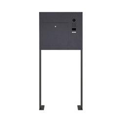 Designer | Edelstahl Standbriefkasten Designer BIG ST-P mit DoorBird Video- Sprechanlage seitlich - RAL Rechts | Mailboxes | Briefkasten Manufaktur