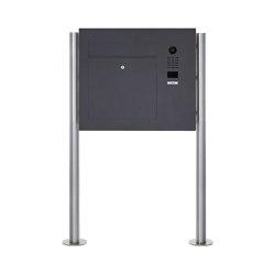 Designer | Edelstahl Standbriefkasten Designer BIG ST-R mit DoorBird Video- Sprechanlage seitlich - RAL Rechts | Mailboxes | Briefkasten Manufaktur