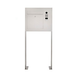 Designer | Edelstahl Standbriefkasten Designer Modell BIG ST-P mit DoorBird Video- Sprechanlage seitlich Rechts | Mailboxes | Briefkasten Manufaktur