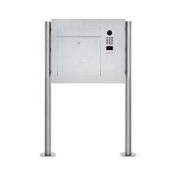 Designer | Edelstahl Standbriefkasten Designer Modell BIG ST-R mit DoorBird Video- Sprechanlage seitlich Rechts | Mailboxes | Briefkasten Manufaktur