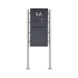 Designer | Edelstahl Standbriefkasten Designer ST-R - Hausnummer hinterbeleuchtet - RAL nach Wahl - INDIVIDUELL | Mailboxes | Briefkasten Manufaktur