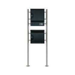 Hesse | 2er Standbriefkasten HESSE 201-7016 mit Klingel-Funktionskasten und Zeitungsfach Edelstahl- RAL 7016 | Mailboxes | Briefkasten Manufaktur