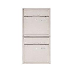 Premium | 2er 2x1 Aufputz Briefkastenanlage PREMIUM BIG aus Edelstahl gebürstet | Mailboxes | Briefkasten Manufaktur