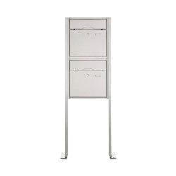 Premium | 2er 2x1 Standbriefkasten PREMIUM BIG ST-P aus Edelstahl gebürstet | Mailboxes | Briefkasten Manufaktur