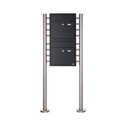 Premium | 2er 2x1 Standbriefkasten PREMIUM BIG ST-R aus Edelstahl pulverbeschichtet in RAL nach Wahl | Mailboxes | Briefkasten Manufaktur