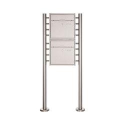 Premium | 2er 2x1 Standbriefkasten PREMIUM BIG ST-R aus Edelstahl, gebürstet | Mailboxes | Briefkasten Manufaktur