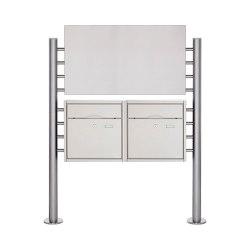Premium | 2er Edelstahl Standbriefkasten PREMIUM BIG ST-R mit Werbeschild 800x457 aus Edelstahl gebürstet | Mailboxes | Briefkasten Manufaktur